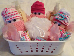 diaper baby gift basket shower guest party favor game prize socks bath
