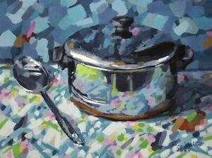 Original-Still-Life-Painting-034-Metal-Pot-amp-Spoon-034-9-x-12-inch-by-John-Wallie
