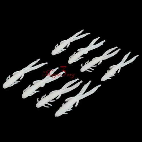"Lot 10 Freshwater Fishing Craws 3/"" Silicone Lures Soft Crawfish Perch Rig Glow"