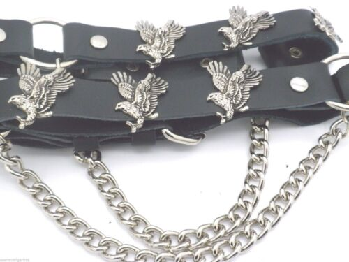 Eagles Flying Leather Biker Western Boot Straps W Chain Buckle Women/'s Men PAIR