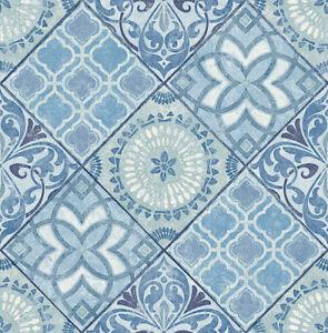 PréCis Papier Peint, Designtapete, Patchwork, Miroir Mosaïque Alhambra, Bleu, Volume Large