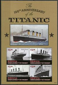 Bequia-Grenadines-St-Vincent-2012-MNH-Titanic-100th-4v-M-S-Ships-Boats-Stamps