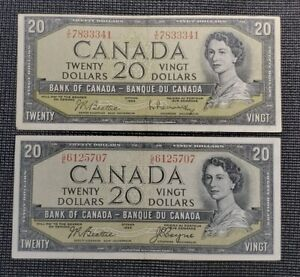 Canada 1954 $20.00 Banknote Lot Of 2 Different Signatures