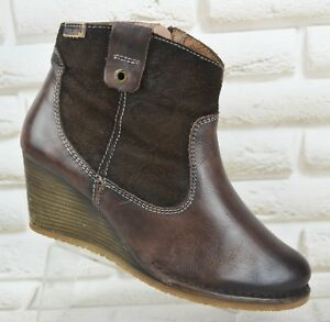 cf93f5086da Image is loading PIKOLINOS-Brown-Leather-Womens-Wedge-Boots-Shoes-Zipped-