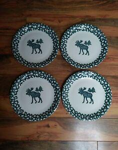 Tienshan-Folk-Craft-Moose-Country-Set-of-4-Dinner-Plates-10-5-034-Green-Spongeware