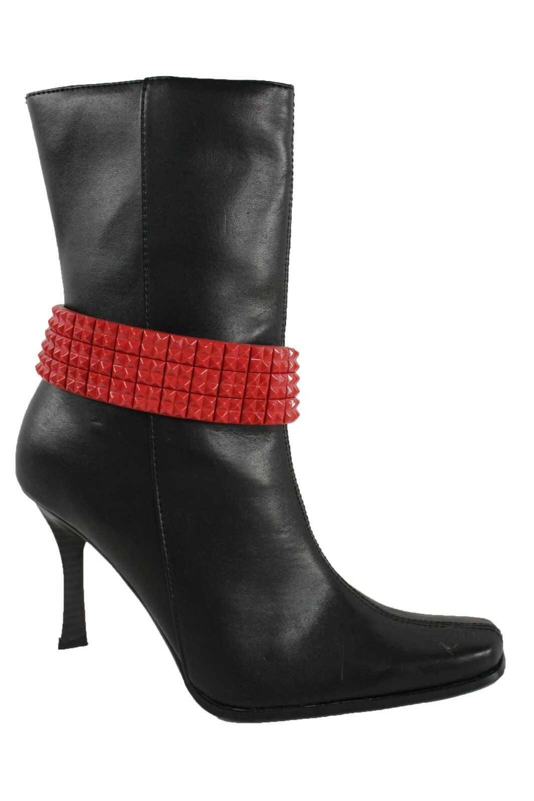 Women Punk Rock Red Pyramid Boot Bracelet Silver Metal Chain Anklet Shoe Charm