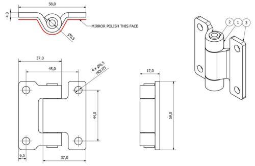 Bisagra de Acero Inoxidable 58x59mm resistente industrial puerta escotilla Locker 2PK