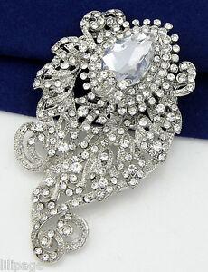 Sparkly-Special-Crystal-Diamante-Silver-Coloured-Brooch-Pin-Xmas-Gift-Present