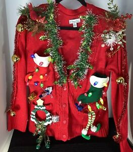 Kim Rogers UGLY CHRISTMAS SWEATER Red Button w/ Lights! Snowman14P Measurmt Pics