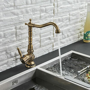 Antique-Brass-Bathroom-Basin-Faucet-Vanity-Single-Handle-Swivel-Lavatory-Tap