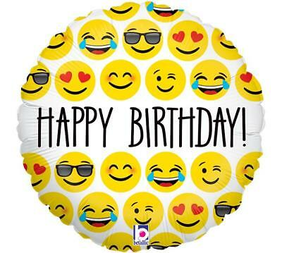 Details About Set Of 2 18 Happy Birthday EMOJI Balloons Winky Face Selfie FREE SHIPPING