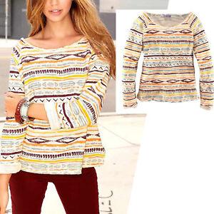 weicher-Sweater-SWEATSHIRT-Gr-32-34-XS-Boucle-AZTEK-PRINT-PULLOVER-WEIss-BUNT