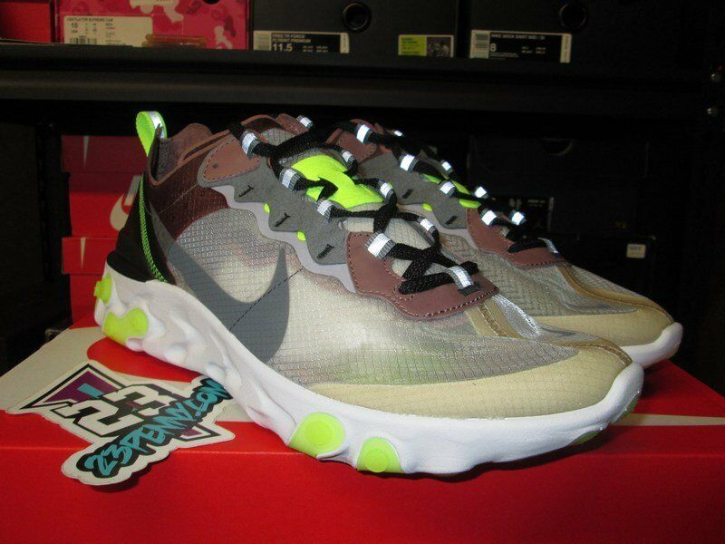 NEW 2018 NIKE REACT ELEMENT 87 DESERT SAND GREY NEON GREEN AQ1090 002