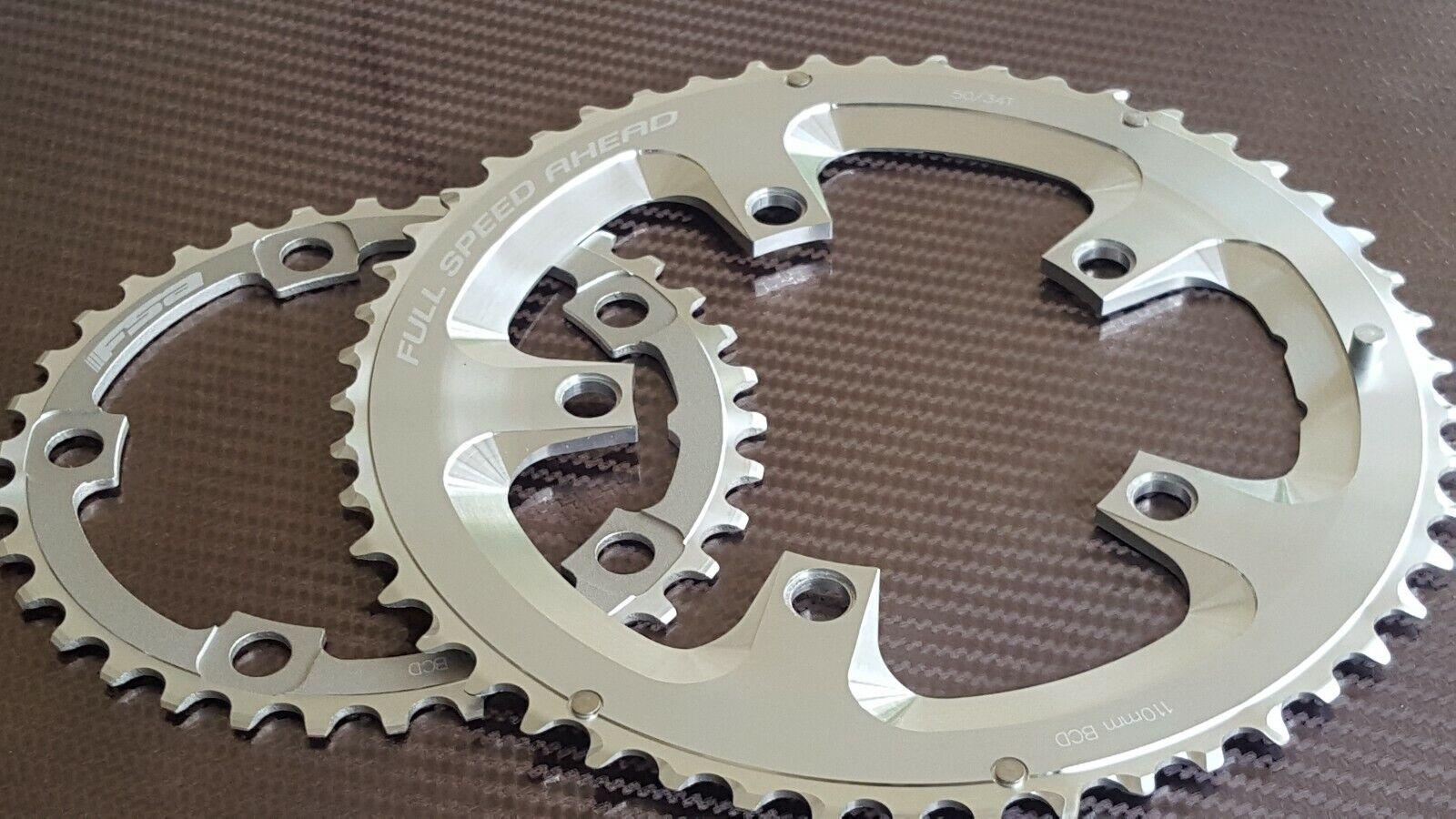 2x FSA SLK CNC Chain Rings (34 + 50t) COMPACT (10 Speed) Shimano Road Bike (NEW)