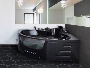 Detalles de Lujo Whirlpool Bañera Negro con Cristal Luz LED Cascada para  Cuarto de Baño