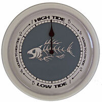 Tide Clock bone Fish 242w Dial With 10 White Plastic Frame