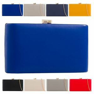 New-Ladies-Synthetic-Leather-Hardcase-Evening-Party-Clutch-Bag-Purse