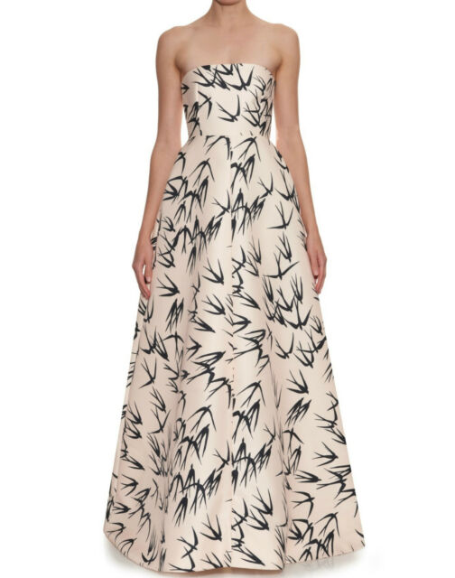 ROCHAS Pale Peach Bird Print Bustier Dress Gown  0  2