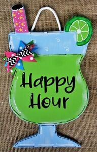 20\u201d spring door decor pool house daiquiri- Wood sign Tropical drink door hanger