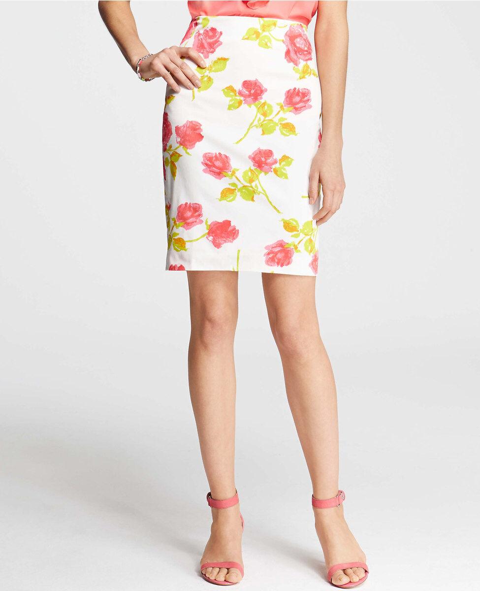 Ann Taylor Garden Floral Stretch Cotton Pencil Skirt Size 12 Petite Guava Juice