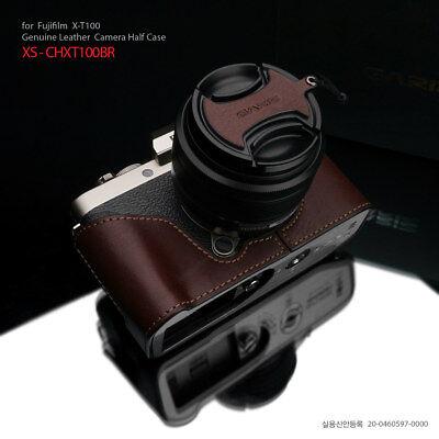 Camera PU Leather Half Body Set Case Cover for Fuji Fujifilm XT100 Brown