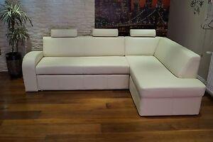 creme echtleder ecksofa echt leder kopfst tzen sofa. Black Bedroom Furniture Sets. Home Design Ideas