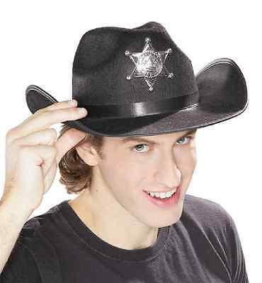 Black Sheriff Hat Star Western Cowboy Fancy Dress Halloween Costume Accessory