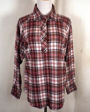 vtg 60s 70s Sears button collar ladies Flannel Shirt Top Blouse grunge SZ 38