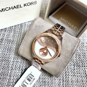 Michael-Kors-Lauryn-Celestial-Pav-Sable-Tone-Rose-Gold-Women-039-s-Watch-MK3757