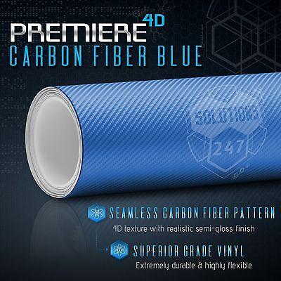 "*12/""x60/"" 4D Gloss Sky Blue Carbon Fiber Vinyl Wrap Decal Bubble Free Air Release"