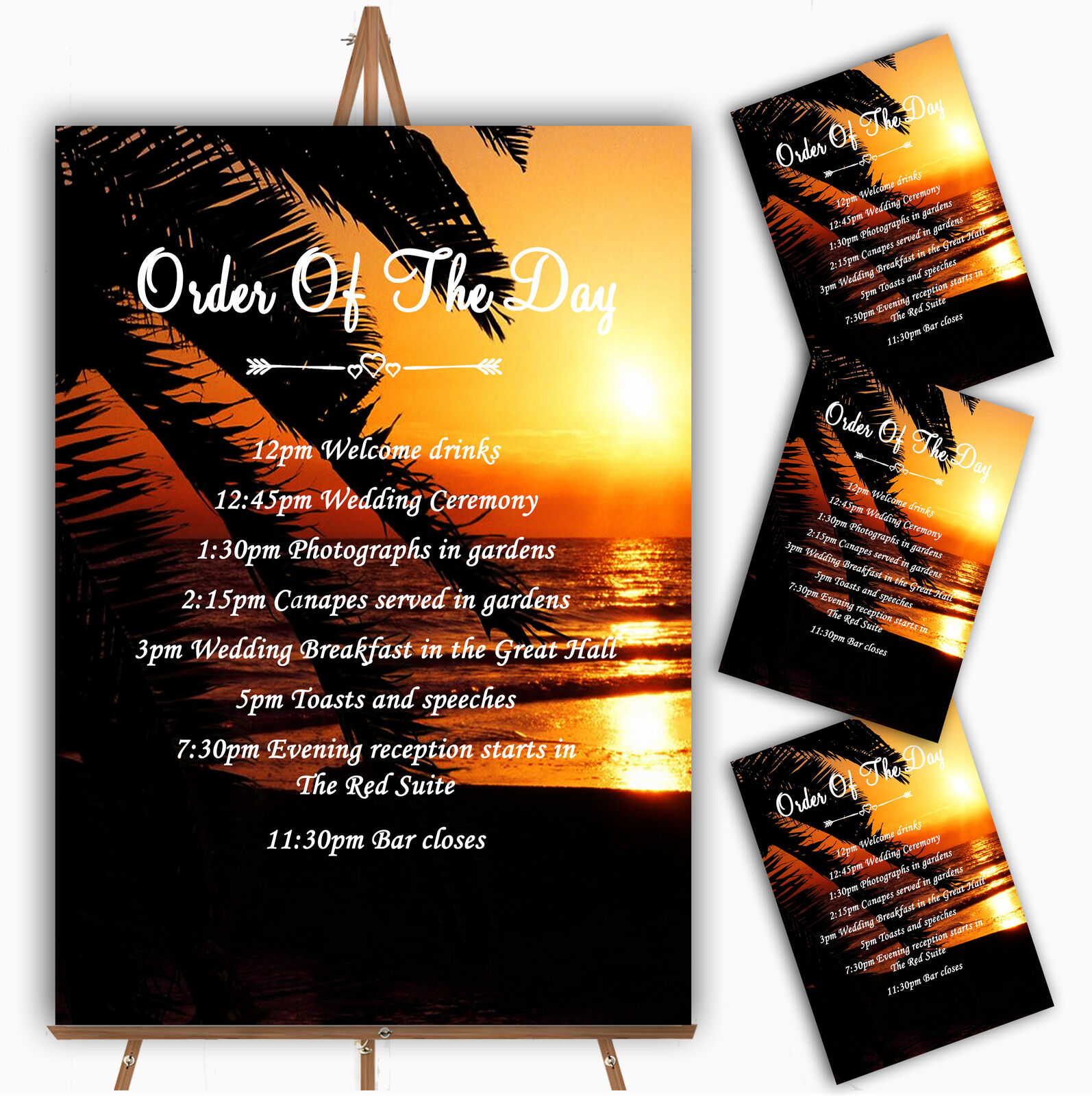 Gorgeous Florida Sunset Beach Personalised Wedding Order Of The Day Cards