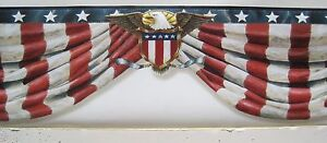 Image Is Loading USA AMERICAN FLAG BANNER WITH EAGLE Wallpaper Border