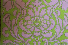 70er Jahre Stil Tapete von Kontrast MARQUIS grün rosa 70s wallpaper Barock Pop