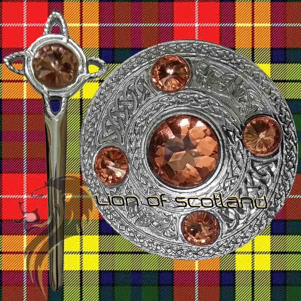 Scottish Kilt Fly Plaid Celtic Brooch Pink Stone Chrome 4