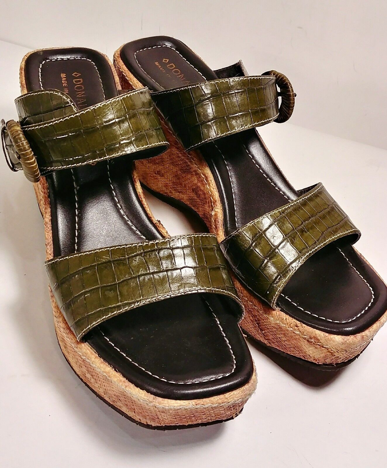 Donald J Pliner Green Green Green Croc Leather Strappy Platform Sandals Woman's Size US 9 M 622284