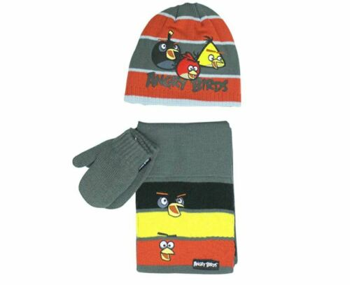 Official Licensed Angry Birds 3 Piece Set Hat Mittens Scarf Grey Red 1-3 Years