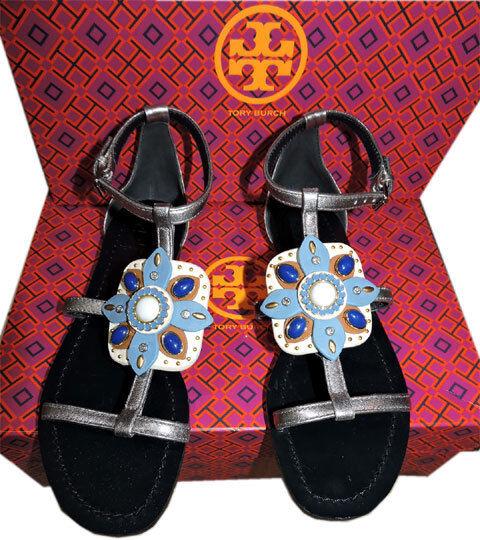 Tory Burch Maura in pelle plata T Cinturino Cinturino Cinturino Gemme Sandali Slide Tanga zapatos 7  ventas al por mayor