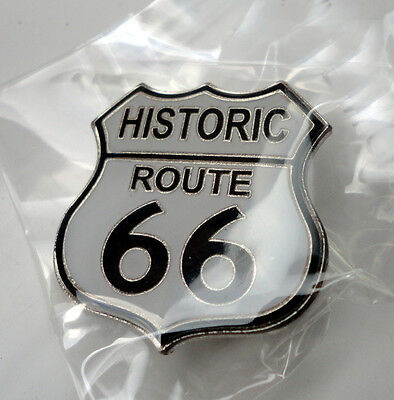 ZP12c Classic Historic Route 66 Shield Enamel Lapel Pin Badge Biker Motorcycle