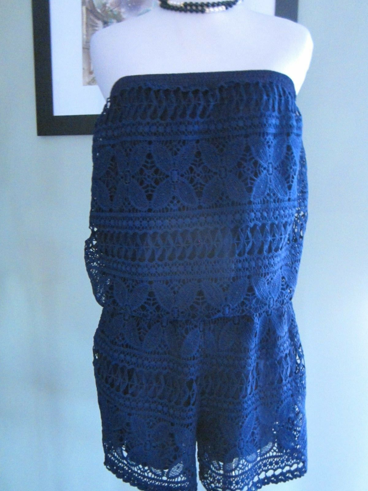 Laffaire Navy bluee Lace Shorts Romper Jumpsuit Size M