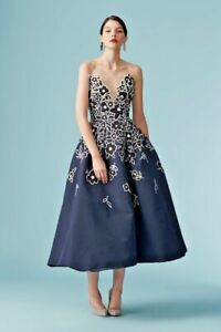 Details About 6 990 Carolina Herrera Blue Embroidered Tail Dress Navy Sz 10