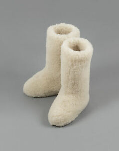 Size-5-38-EU-WHITE-CALF-TALL-LADIES-WOOL-BOOTS-WARM-NATURAL-SLIPPERS-SHEEP