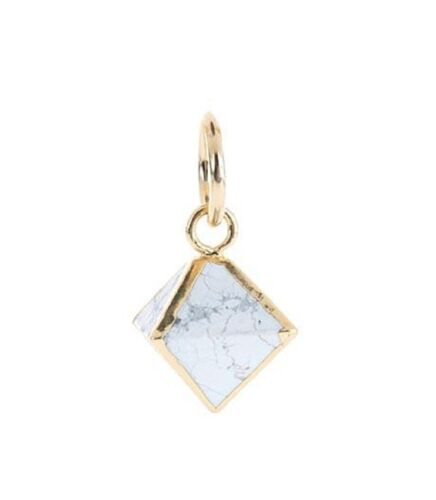 Benny And Ezra Octahedron Howlite Pendant Antique Gold by Benny & Ezra