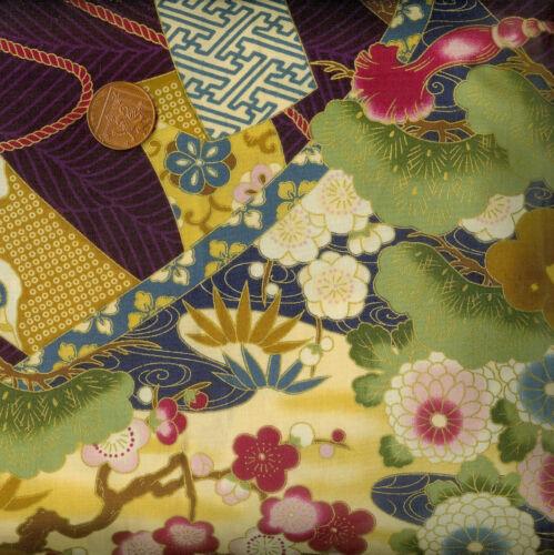 Kona Bay Kiyomi collection kiyo-04 PURPLE FLORE oriental 100/% coton fat trimestre