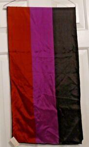 TERRIART-Black-Purple-Burnt-Solid-Striped-SILK-14X56-Lg-Scarf-Vintage-ECHO