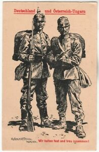 WW1-GERMAN-AND-AUSTRO-HUNGARIAN-SOLDIERS-ANTIQUE-LITHO-POSTCARD