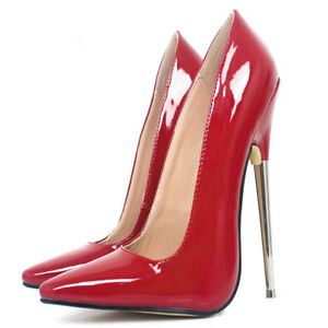 "uk women's 7"" sexy metal high stiletto heels pumps pointed"