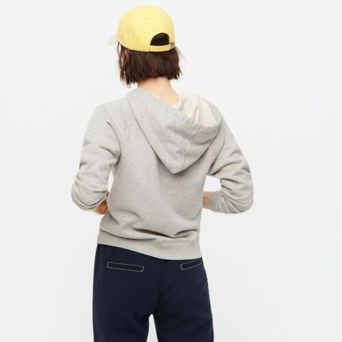 J Crew NWT $79.50 Garment-Dyed V-Neck Hoodie in Cotton TerrySz MGray