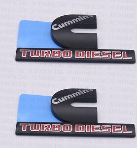 FOR Dodge RAM 2500 Grille Tailgate Cummins Turbo Diesel Emblem Badge Black 4 PCS