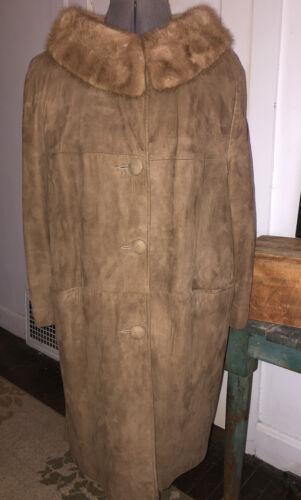 Suede And Fur Vintage Ladies Brown Jacket Trench C
