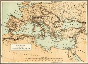 Cartina Geografica Del Mediterraneo.Coste Del Mediterraneo Carta Geografica Mediterranean Coasts Passepartout 1880 Ebay